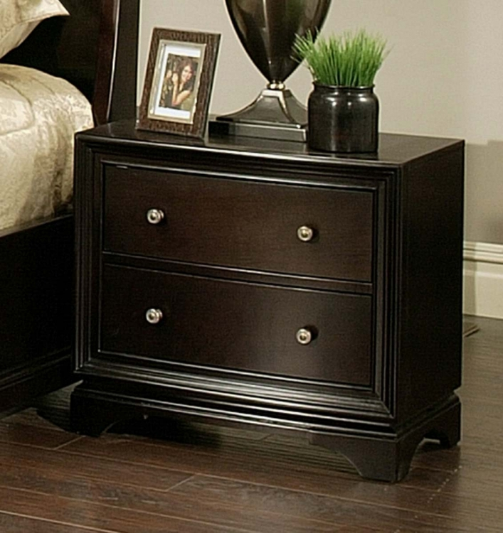 Kingston 2 Drawer Espresso Nightstand