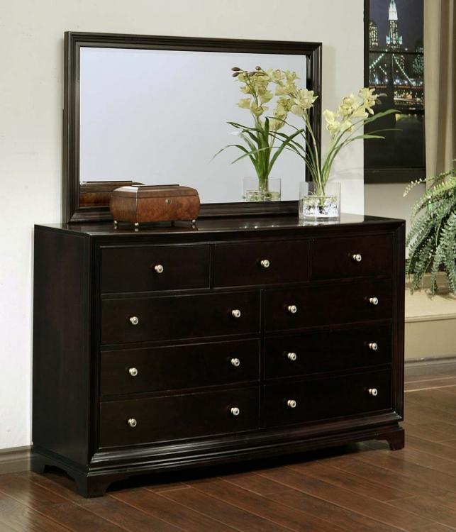 Kingston Espresso 9-drawer Dresser and Mirror Set - Abbyson Living
