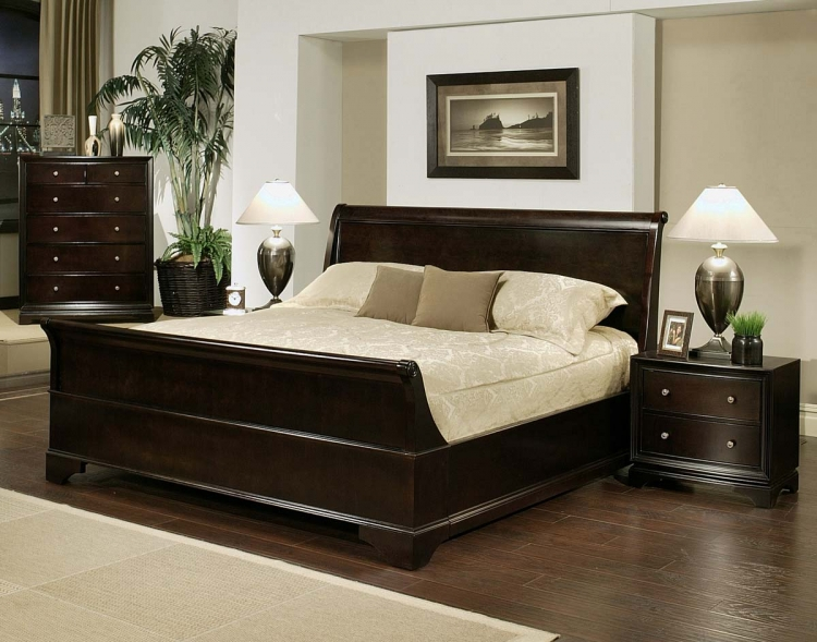 Kingston 4-piece Espresso Sleigh Bedroom Set