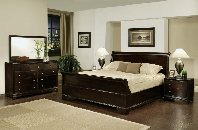 Kingston 5-piece Espresso Sleigh Bedroom Set - Abbyson Living