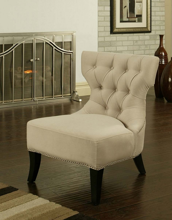 Sedona Light Cream Microfiber Suede Chair