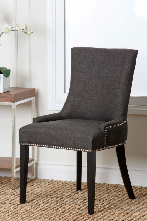 Hudson Fabric Nailhead Trim Dining Chair - Grey
