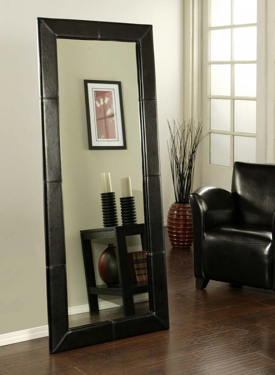 Delano Black Leather Large Floor Mirror - Abbyson Living
