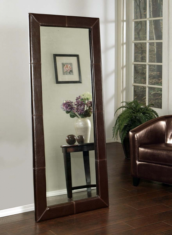 Delano Brown Leather Large Floor Mirror