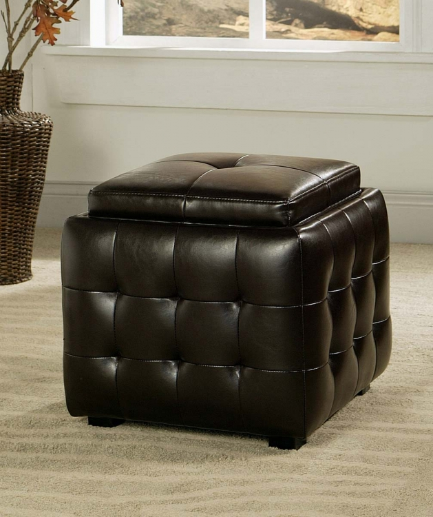 Manchester Dark Brown Bicast Tufted Leather Ottoman with Tray - Abbyson Living