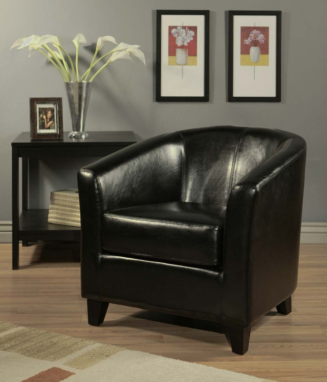 Montecito Black Bicast Leather Armchair - Abbyson Living