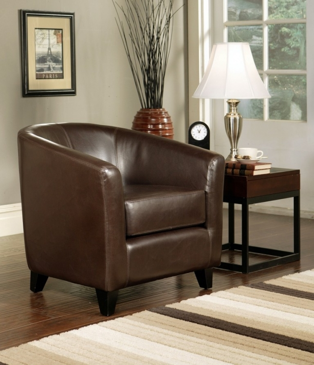 Montecito Dark Brown Leather Arm Chair - Abbyson Living