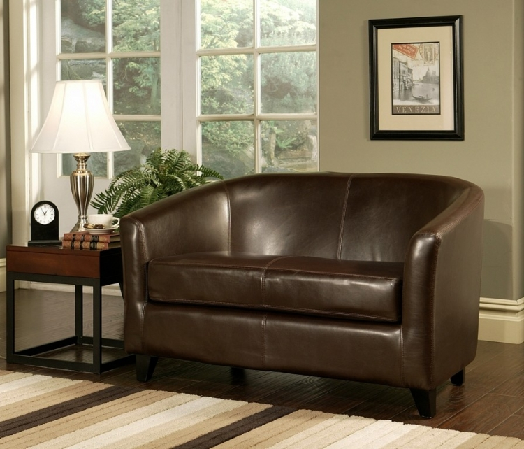 Montecito Dark Brown Leather Loveseat - Abbyson Living