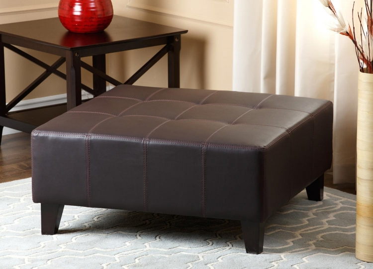 Stratford Leather Square Ottoman - Brown