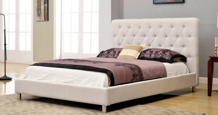 Newport Tufted Linen Platform Bed - Ivory