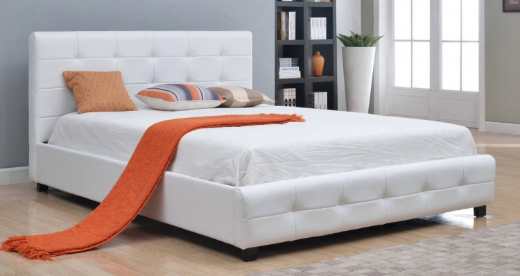 Montego Tufted Bonded Leather Platform Bed - White