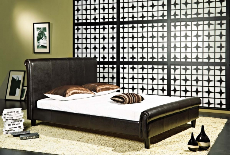 Lexington Dark Brown Bi-cast Leather Bed - Abbyson Living