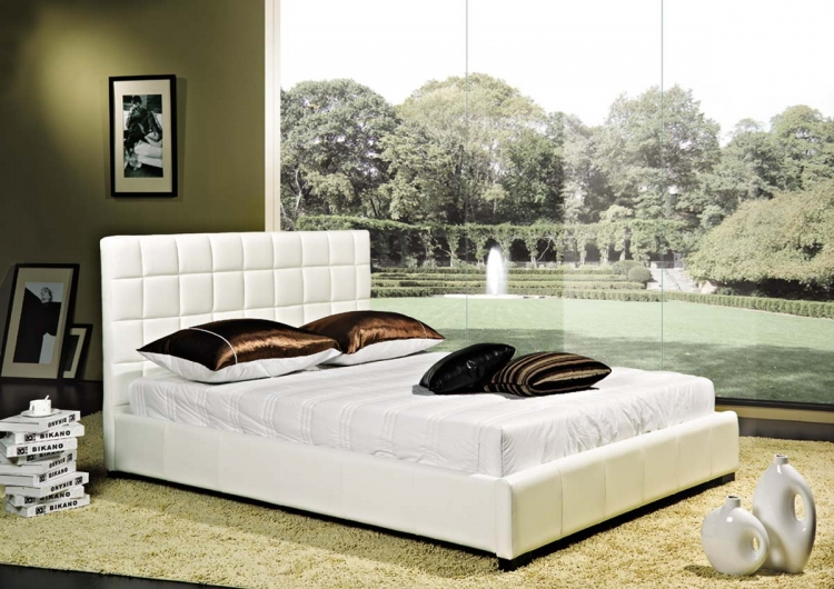 Torrance White Bi-cast Leather Bed