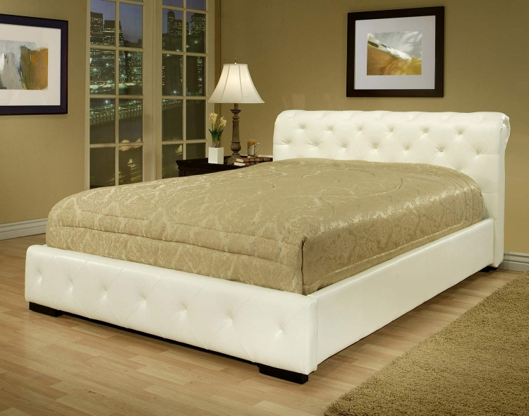 Deanna White Bi-cast Leather King Bed