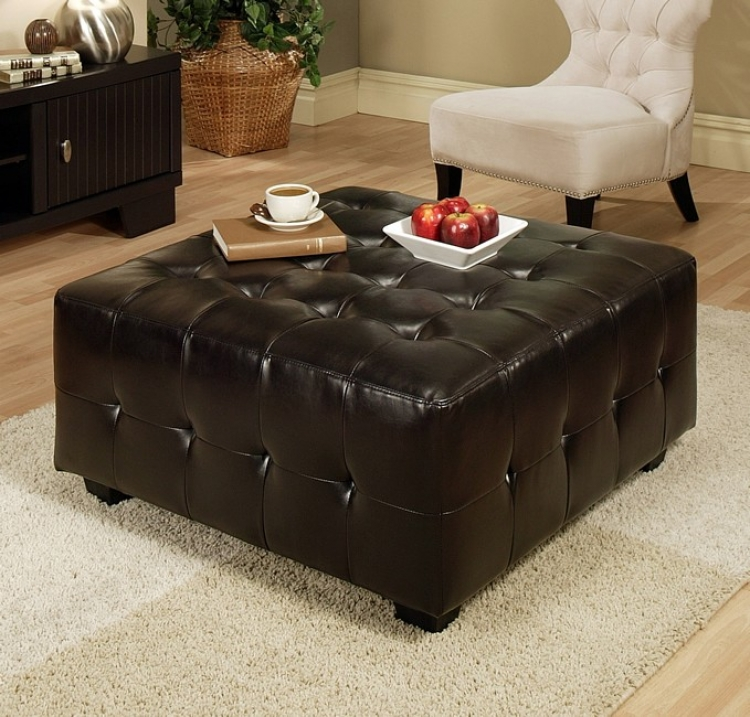 Bentley Leather Square Cocktail Ottoman - Abbyson Living