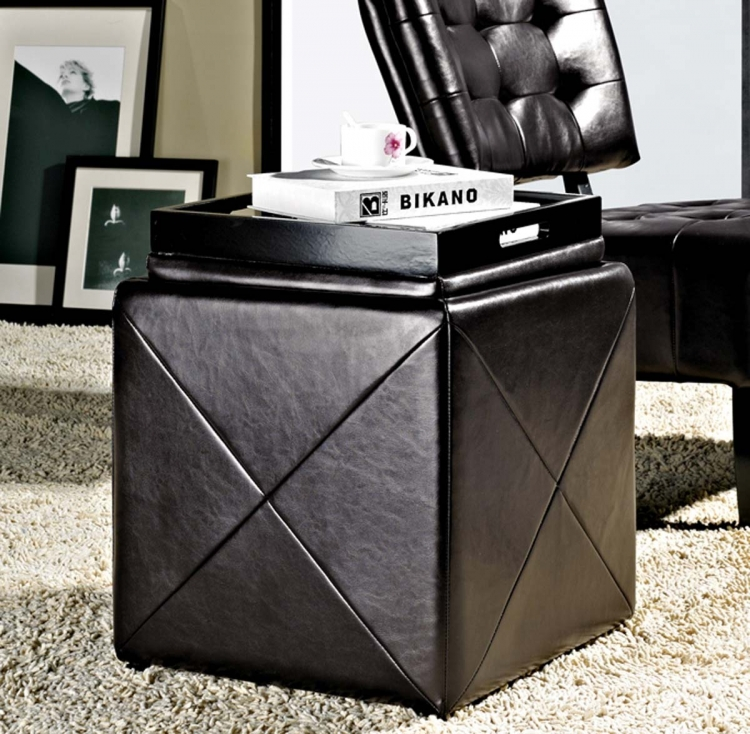 Bentley Bonded Leather Cube Storage Tray Otoman - Abbyson Living