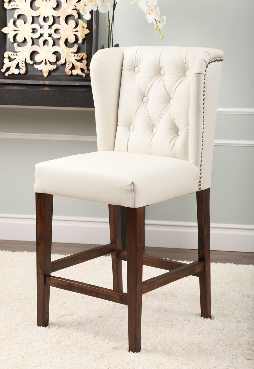 Monica Pedersen Tufted Leather Counter Height Stool - Ivory
