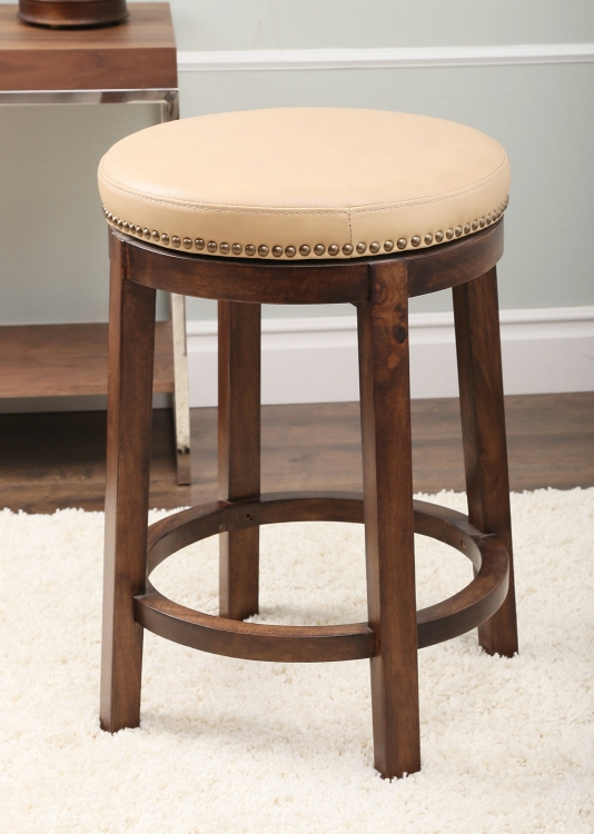 Monica Pedersen Round Swivel Leather Counter Height Stool - Camel
