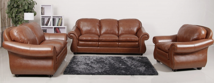 Houst Premium Semi-Aniline Leather Sofa, Loveseat and Armchair Set