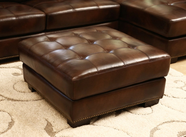 Davis Leather Ottoman - Brown