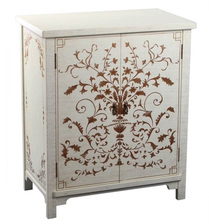 Parmita Hand Painted Side Cabinet - White