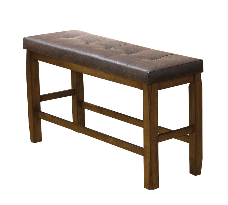 Morrison Counter Height Bench with Storage - Brown Vinyl/Oak