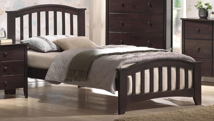 San Marino Bed (Mission Style HB) - Dark Walnut