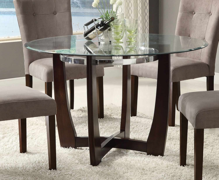 Baldwin Dining Table - Walnut/Clear Glass