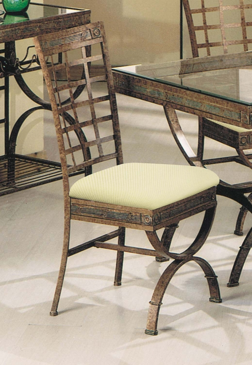 Egyptian Side Chair - Fabric/Bronze Patina