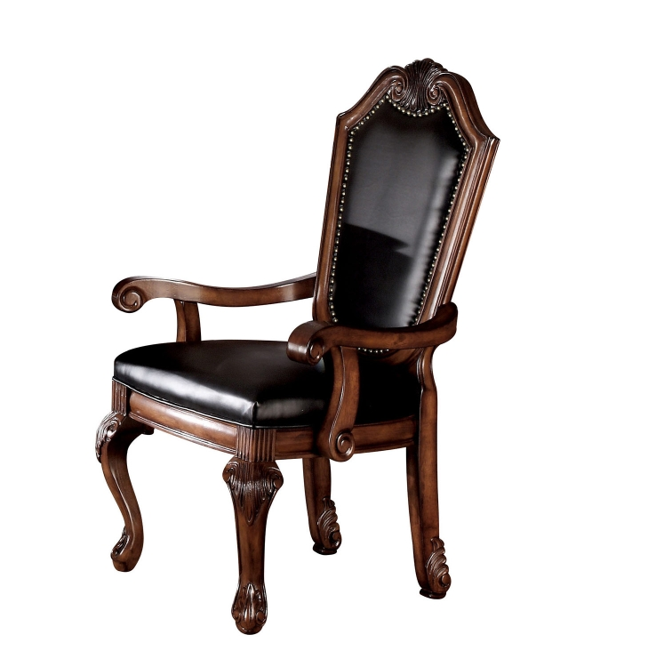 Chateau De Ville Arm Chair - Black Vinyl/Cherry