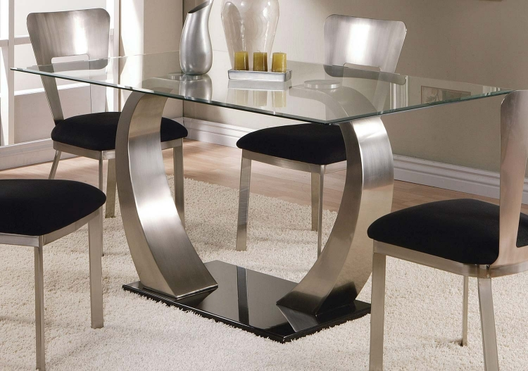 Camille Dining Table - Satin Plated/Black Clear Glass