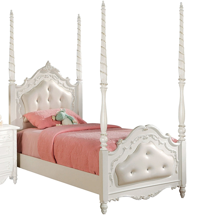 Pearl Button Tufted Bed - Pearl White