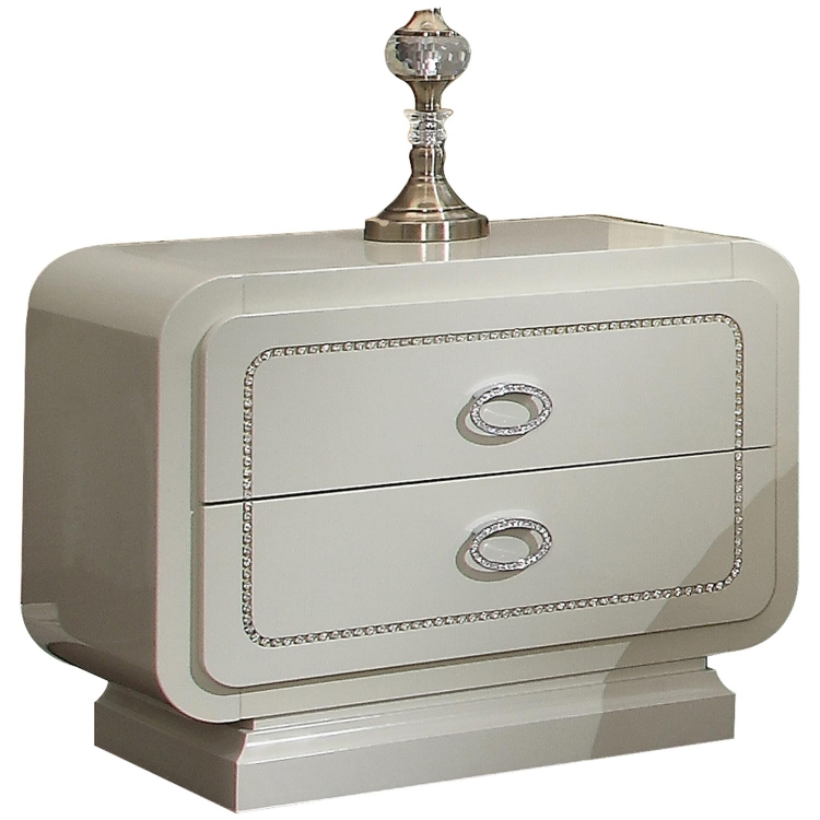 Bellagio Nightstand - Ivory High Gloss