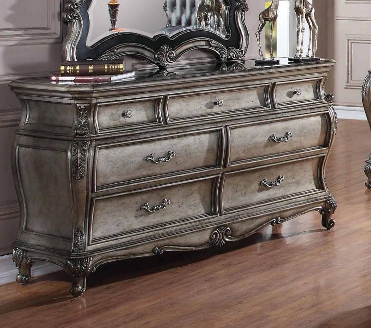 Chantelle Dresser with Granite Top - Antique Platinum