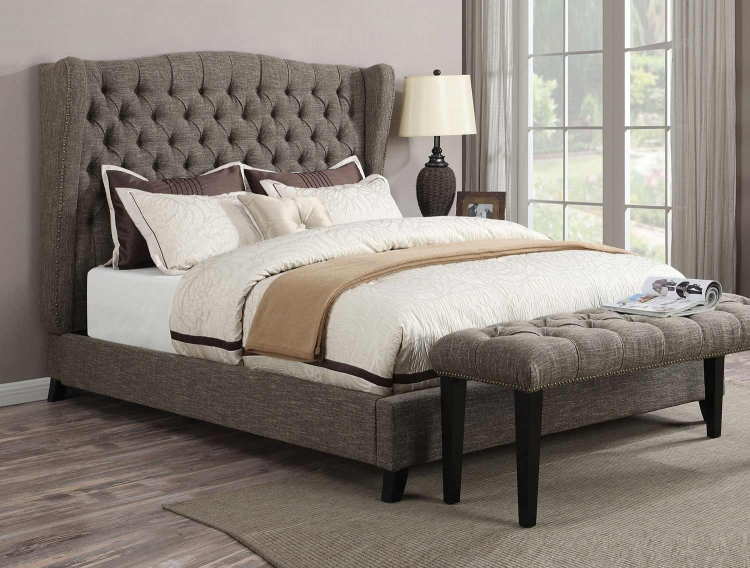 Faye Bed - 2-Tone Chocolate Linen