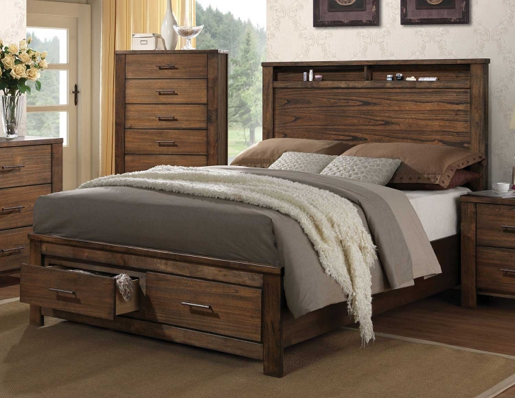 Merrilee Bed with Storage - Oak