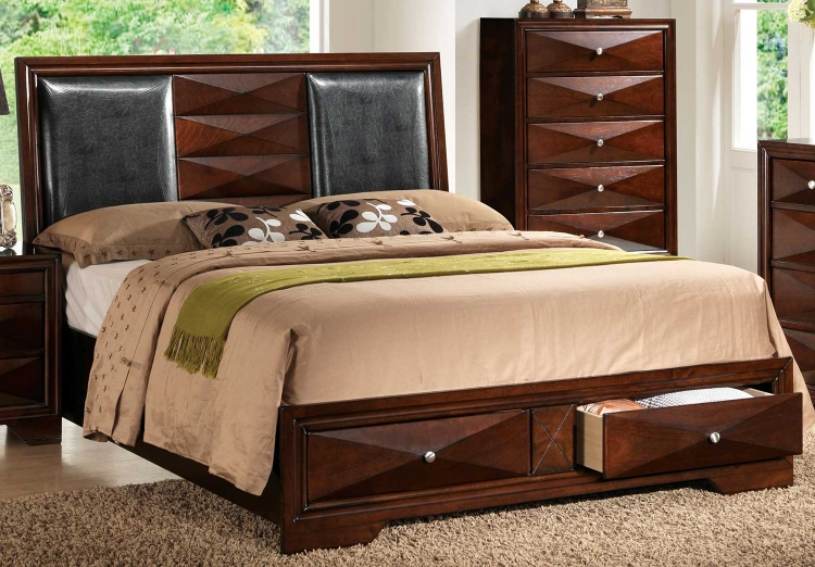 Windsor Bed with Storage - Black Vinyl/Merlot