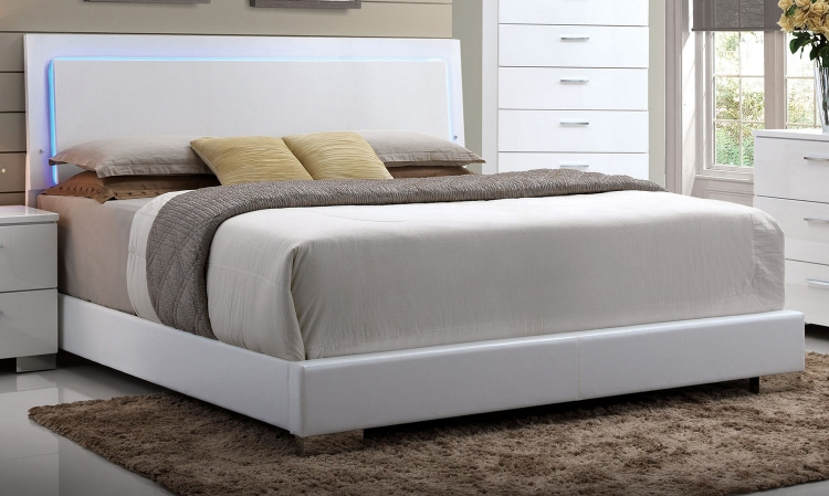 Lorimar Bed (HB with LED) - White Vinyl/Chrome Leg