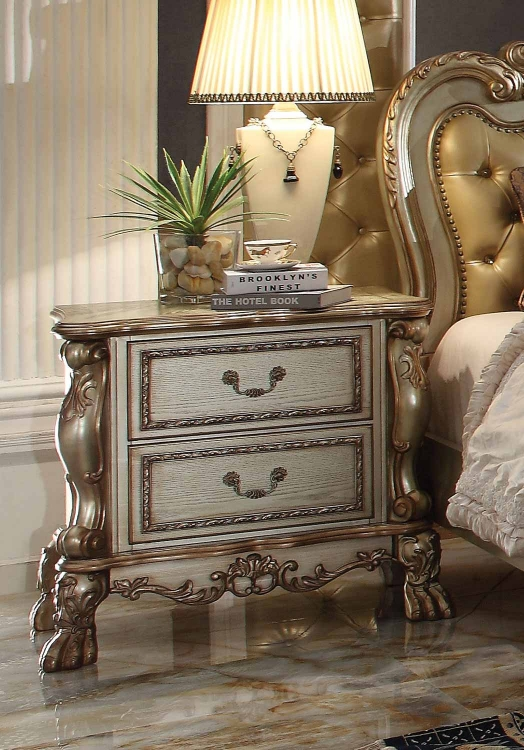 Dresden Nightstand - Gold Patina/Bone