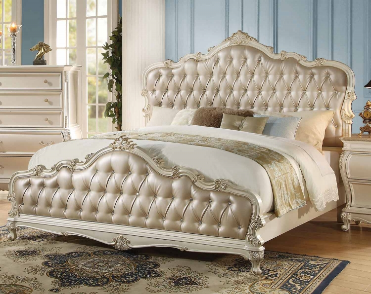 Chantelle Bed - Rose Gold Vinyl/Pearl White