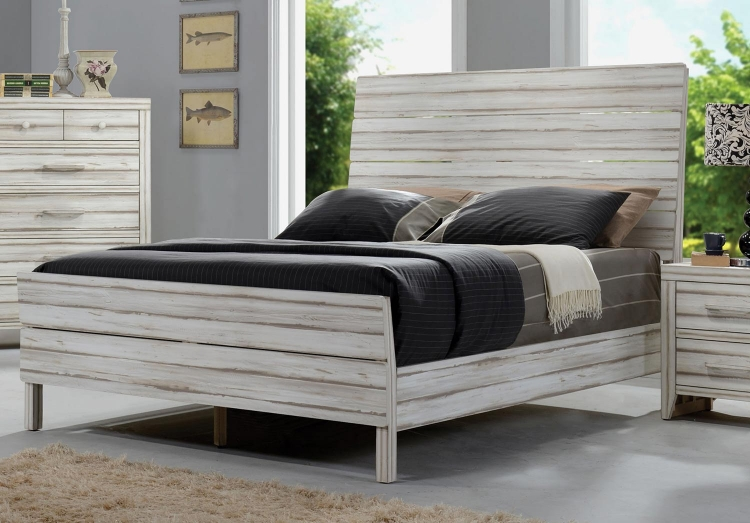 Shayla Bed (Wooden HB) - Antique White