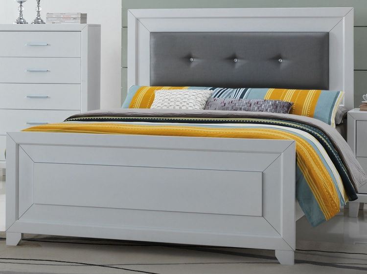 Switzer Bed - Gray Vinyl/White
