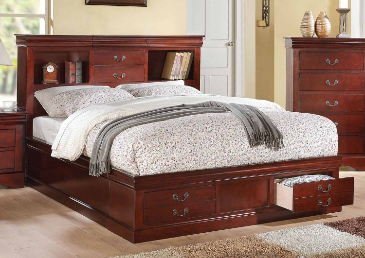 Louis Philippe III Bed with Storage - Cherry