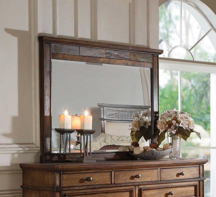Arielle Mirror - Slate/Oak
