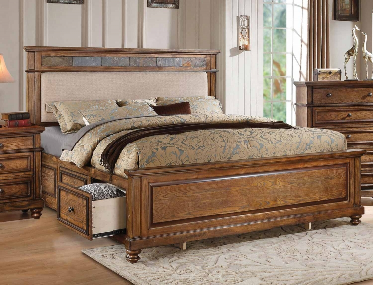 Arielle Bed with Storage - Cream Linen/Slate/Oak
