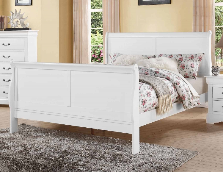 Louis Philippe III Bed - White