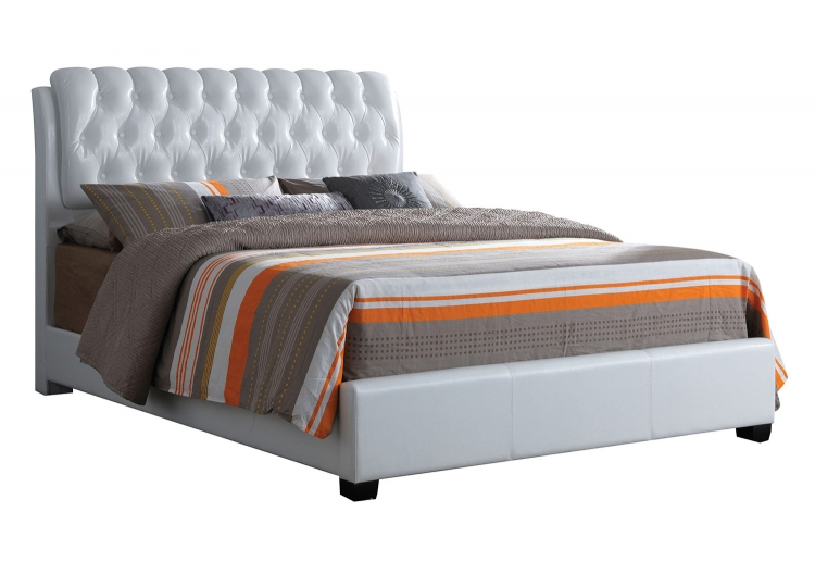 Ireland II Button Tufted Bed - White Vinyl