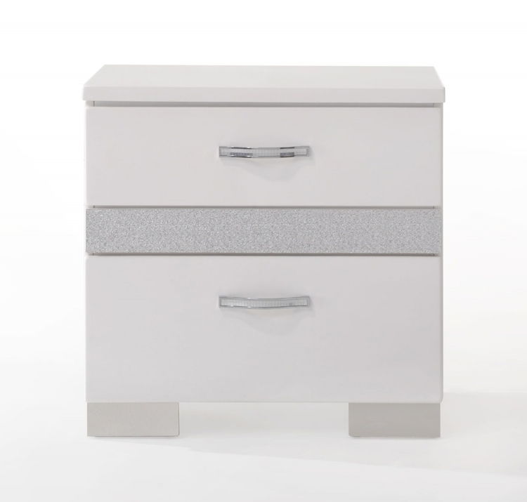 Naima II Nightstand - White (High Gloss)