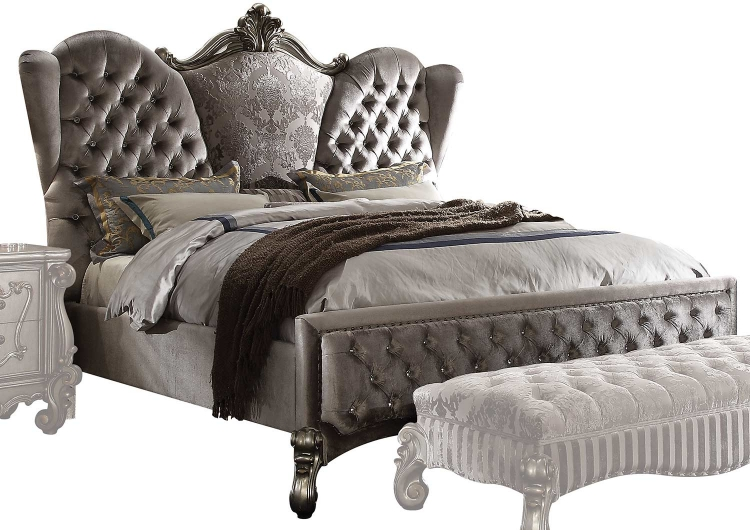 Versailles Bed - Velvet/Antique Platinum