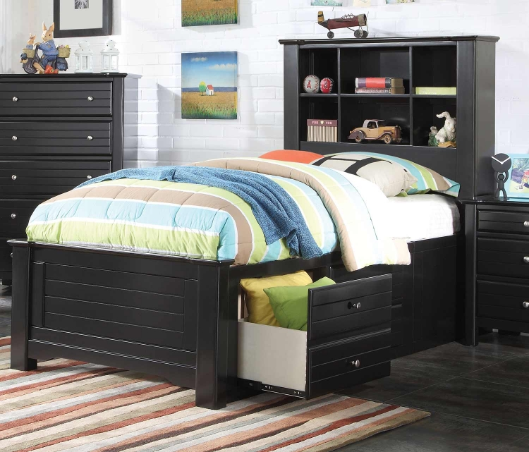 Mallowsea Bed with Storage Rail - Black